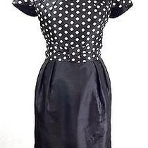 Sc Sara Campbell 6 M Black White Polka Dot Pleat Cap Sl Bow Waist Sheath Dress  Photo