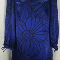 Sc Sara Campbell Qvc Dress 2 Blue Floral Tunic Scoop Neck Long Sleeve New 3299 Photo