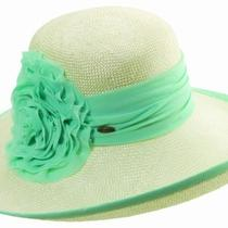 Scala Collezione Ladies Sisal Dashing Wide Brim Sun Hat Chiffon Rosette Aqua Photo