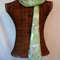 Scarf Paisley Green Aqua Brown Pink Chiffon New Long Neck 13