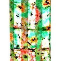 Scarf Soft Pastel Colors Green Yellow Peach Pink Floral Fantasy Flowers Photo