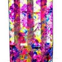 Scarf Violet Lavender Green Fuchsia on Yellow Background Flowers Fantasy Floral Photo