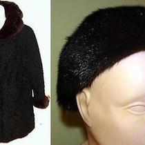Schiaparelli Persian Lamb Coat Mink Collar & Cuffs Matching Hat Sz Xl 50
