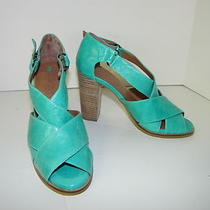 Schuler & Sons Shoes Sz 7 Sandals Heels Gorgeous Aqua Blue Leather Brand New Photo