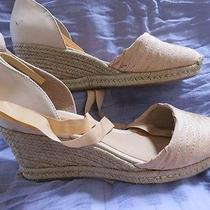 Schutz 9 Light Peach or Coral Espadrille Wedge Sandals Womens Shoes Platform Photo