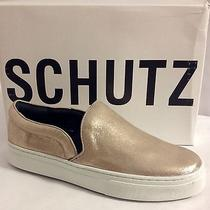 Schutz Amisha Leather Slip on Sneaker Patina Gold Us 8 Eu 39 New in Box 160 Photo