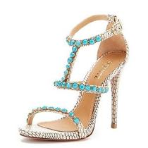 Schutz Annamaria Turquoise Cream Snakeskin Leather Beaded Sandals Sz 5.5 260 Photo
