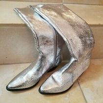 Schutz Crackled Silver Cowgirl Fantinne Zippered Boots  Photo