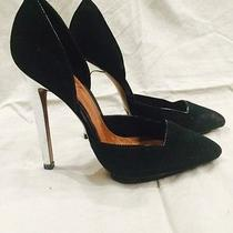 Schutz d'orsay Suede and Metallic Leather Heel Pump Sz 6.5 190 Black and Silver Photo