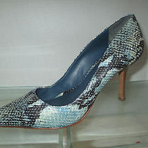 Schutz Designer Women Snakeskin Embossed Leather Pumps Heels - 8 Us Photo