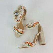 Schutz Dienne Beige White Canvas Fringe Ankle Strap Sandals Shoes 7 New Photo