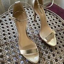 Schutz Gold Leather Strappy Sandals Heels Sz10 Photo