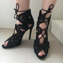 Schutz Lace Up Sandals Heels Stilettos Black Size 5 Photo