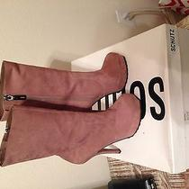 Schutz Nude Suade Leather Mid-Calf High Heel Boots Size 6 Photo