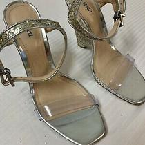 Schutz Open Toe Gold & Silver Sequin Pump Ankle & Cross Strap 7.5 Msrp 325 Nwt Photo