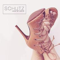 Schutz Slate Lace Up Heels Tan Size 6.5 Photo