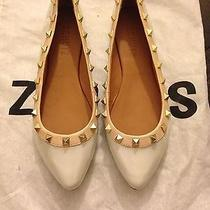 Schutz Studded Pointy Toe Flats Patent White 5.5 Brand New  Photo