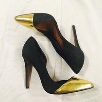 Schutz Suede/ Metallic Leather d'orsay Pumps Heels Sz 6.5 - 190 Black/ Gold Photo