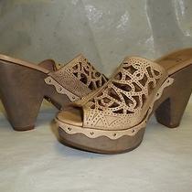 Schutz Tan Leather Filigree Open Toe Platform Heel Shoe Sz 34/ Us sz.5 Photo