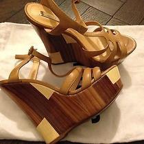 Schutz Wedge Platform Brown Beige Nude Sandals 6 Brand New Block Heel Photo