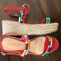 Schutz Wedge Playform Sandal - Women's Size 7.5b - Red With Multi Color Straps. Photo