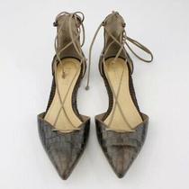 Schutz Womens Croc Dorsay Flats Shoes Sz 6 B Brown Leather Lace Up Sandals Photo