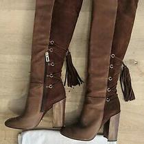 Schutz Women's Over the Knee Cognac Leather Heeled Boots Size 38 Photo