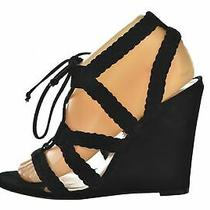 Schutz Womens Shoes Size 9 Black Strappy Gladiator Wedges Open Toe Heels Suede Photo