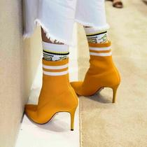 Schutz Yellow Gisela Sock Bootie  Fitted New Sunshine Pointed High Heel Boot Photo