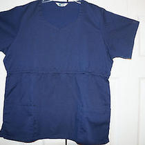 Scrub Elements Large Solid Navy Scrub Top Photo