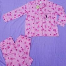 Sears Classic Elements Cotton Flannel Pajama Set Pink Roses Women L - New W/tags Photo