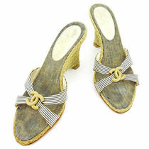 Second Hand Chanel Sandals Shoes Wedge Coco Mark Beige Navy White T2233 no.71851 Photo