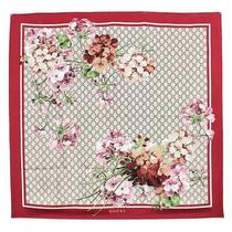 Second Hand Gucci Gg Blooms Silk 100 Large Format Scarf Floral Flour Beige Red Photo