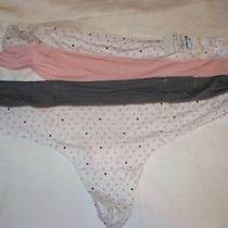 Secret Treasures Thong Panty 2 Pair Size Large (7) Pin Dot Rose Blush & Gray Photo
