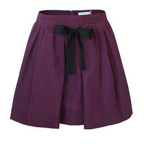 See by Chloe 295 Pleated Shiny Purple Black Ribbon Bow Tie Mini Skirt 8/44 New Photo