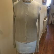 See by Chloe Beige W/gold Sparkle Wool  Blend  Ribbed Knit Cardigan Sweater 42 Photo