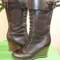 See by Chloe Black Leather Lace-Up Wedge Boots Size 38 Photo