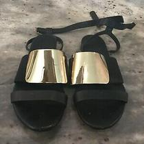 See by Chloe Black Leather W/ Gold Metal Flat Ankle Strap Sandals Shoes 38 7.5 8 Photo