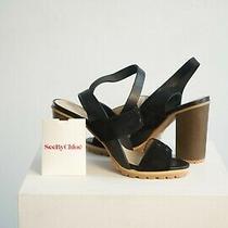 See by Chloe Black Sandal High Heels Size 37.5 -Never Worn - Beautiful Wood Heel Photo