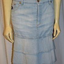 See by Chloe Blue  Denim Midi  Skirt Size 10 Fab Fun Photo