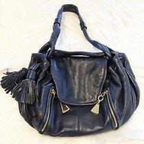 See by Chloe Blue Leather Shoulder Bag Purse With Gold Hardware and Side Tassel Photo