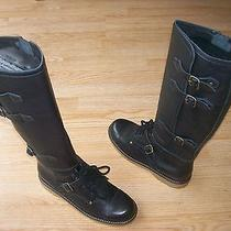 See by Chloe Boots Martin Riding Tall Buckle Black Leather Sz 40.5 Us 10.5 Nib Photo
