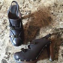 See by Chloe Brown Wooden Wedge Heels Clogs Leather 39 Rare Chunky Slingback Photo