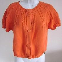 See by Chloe Cable Knit Cropped Cardigan Sweater in Tangerine- Sz 8 Photo