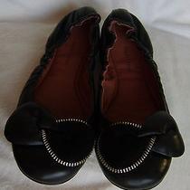 See by Chloe Clara Black Leather Zipper Bow Balleteu Size 40 / Us 9.5-10 Photo