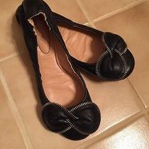 See by Chloe Clara Bow Zipper Black Lambskin Leather Ballet Flats Shoes S 36 / 6 Photo