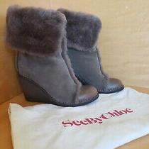 See by Chloe Grey Leather With Shearling Ankle Wedge Boots Size 8 Perfect Fit.  Photo