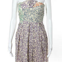 See by Chloe Ivory Cotton Multicolored Floral Print Pleated Strapless Dress Sz 6 Photo