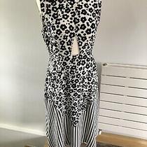 See by Chloe Ladies Black & White  Silk Sleeveless Midi Dress Size Uk 10 Photo