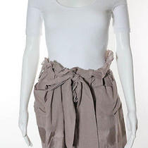 See by Chloe Mauve Taupe Pink Silk Cotton Pleated Tie Belt Mini Skirt Sz 2 Photo